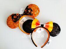 Disney Parks 2019 Halloween Candy Corn Bow Minnie Mouse Ears Ear Headband Set
