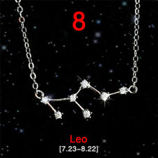 12 Constellations Star Sign Silver Plated Rhinestone Necklace Pendants JewelryBD