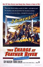 CHARGE AT FEATHER RIVER, THE (1953) Vntg orig one sheet 3-D awesome poster art!