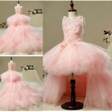 Lace Pink A Line Beads Flower Girl Dress Prom Pageant Party Girls' Formal Gowns