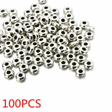 Wholesale 100pcs Silver Plated Round Spacer Beads DIY Charms Jewelry Making
