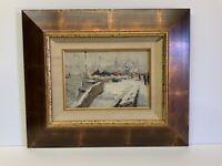 "Original Oil Painting Signed Framed Russian Artist Landscape 11x7"" Framed 21x17"""
