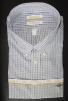 Roundtree Yorke Gold Label Dress Shirt * Blue Tan Check * 20 - 36/37 TALL NWT