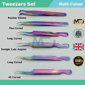 Eyelash Extension Tweezers Volume Individual Isolation Lash Rainbow 2D-8D Set