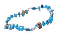 Gorgeous Eyecatching Aquamarine Blue Stone Beaded Bracelet , Stretchable(Zx76)