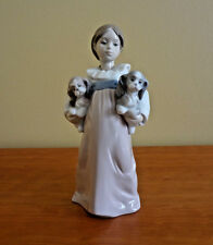 """Lladro """"Arms Full of Love"""" Girl w/Two Dogs Figurine # 6419"""