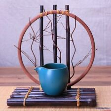 Handmade Tabletop Vase Plant Round Bamboo Container Tray Home Indoor Decorations