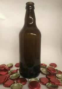 40 x 500ml GLASS BEER / CIDER BOTTLES  FOR HOMEBREW - BROWN -  NEW  -  PLUS CAPS