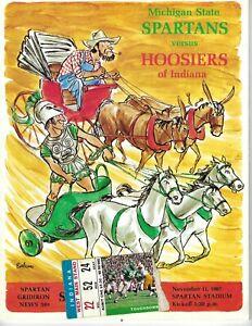 1967 11/11 football program Michigan State Spartans Indiana Hoosiers VG w TICKET