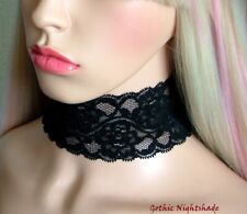 Gothic Black Stretch 6cm Wide Lace Choker Necklace, Adjustable, Handmade