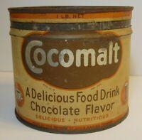 Old Vintage 1930s Hot Chocolate KEYWIND COFFEE TIN 1 POUND HOBOKEN NEW JERSEY NJ