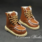 1/4MSD BJD Climbing Shoes Doll Brown Round-toe Leather Boots Lace-up Yellow Sole