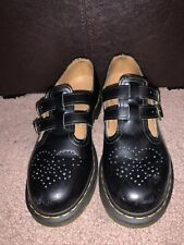Doc Martens 8 Black Leather Mary Jane Buckle T Strap Slip On