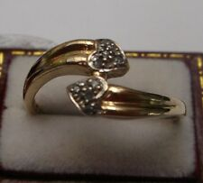 Women's 9ct Gold Ring Diamond Stones Love Heart setting W2.1g Stamped Size P