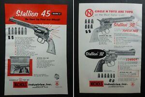 RARE Vtg 1957 DEALER Ad - NICHOLS Cap Gun Stallion 22, 38, 45 Diecast Western