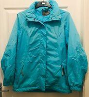 Regatta Waterproof Coat Jacket Womens 10 Blue Aqua Hooded