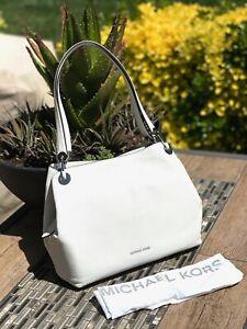New Michael Kors White Silver Raven Pebble Leather Tote Bag w/Dust Bag $298.00