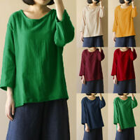 US Womens Cotton Linen Solid Ladies Top Blouse Casual Baggy Loose Tunic Shirt