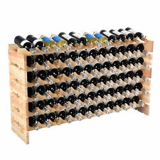 Wooden 72 Wine Bottle Cellar Rack Stackable Storage Display Shelf Holder Stand