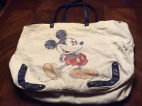 Disney Parks Mickey Mouse Canvas And Faux Leather Tote Bag