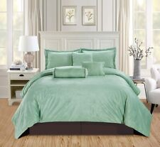5Pc Twin Solid Sage Green/Brown Micromink Velvet Comforter Set Warm Bedding