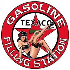 Texaco Gasoline Filling Station Pinup  Round Steel Sign 360mm diameter (pst)