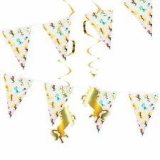 Unicorn Garden Birthday Party Decorations Supplies Swirls Bunting Gold Shiny