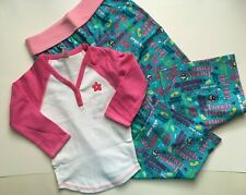 NWT Limited Too 2 PC Outfit White Pink PJ Top 7 & Pink Pajama Pants 6 7 Set
