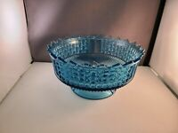 """Richards & Hartley 3 panel Daisy and Button Large Blue Glass Bowl  8 1/2"""""""