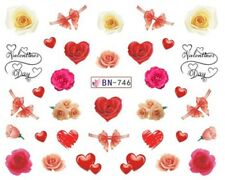 Nail Art Water Decals Stickers Transfers Valentines Roses Hearts Ribbons (BN746)