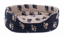 Petface Archie's Small Oval Bed. Pet Cat Dog. Black Paw Print Reversible Cushion