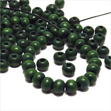 Lot de 100 Perles rondes en Bois 6mm Vert Foncé