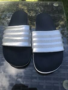 adidas sliders 8 Silver And Blue