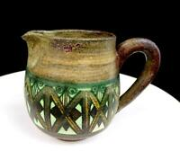 """JANE WHERRETTE SIGNED ART POTTERY WHEELTHROWN LATTICE DESIGN 4 7/8"""" PITCHER 1970"""