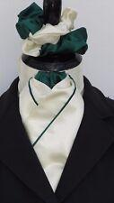 Ready Tied Rich Cream & Green Faux Silk Riding Stock & Scrunchie - Dressage Show