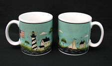 "Sakura - Warren Kimble - ""Coastal Breeze"" Mugs - 1998 - Set of 2 - Mint!"