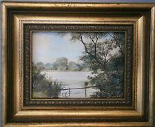 Robert Hughes Framed Miniature Oil on Board ' No Fishing' Signed 1986