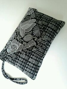 Altiplano Hand Made Embroidered Clutch Cotton Black White Grey