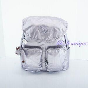 NWT Kipling KI0366 Fiona Travel Medium Backpack Polyamide Frosted Lilac Metallic