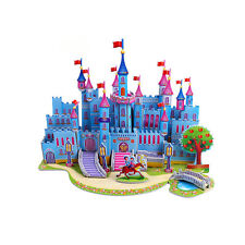 Hot Blue Castle For DIY 3D Educational Jigsaw Puzzle Model Toy Children Gift