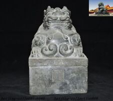 """8""""Chinese Feng Shui bronze carved Dragon beast statue Seal stamp signet"""