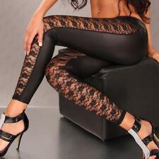 Sexy Leggings Neri Wet Look Pizzo Aderenti Trasparenti Stretch Clubwear Koucla M