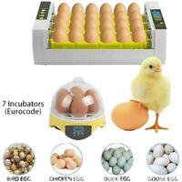 7 24 PCS Chicken Eggs Incubator Digital Home Farm Poultry Temperature Control