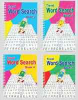 SET OF 4 SPIRAL BOUND 102 PAGE NEW WORD SEARCH PUZZLE BOOKS TRAVEL SERIES 3130