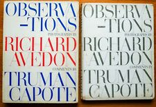 SIGNED - TRUMAN CAPOTE ASSOCIATION - RICHARD AVEDON OBSERVATIONS 1959 1ST ED