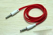 Red Flat 3.5mm Auxillary Aux Audio Headphone Cable Cord Male-Male- 1 Metre