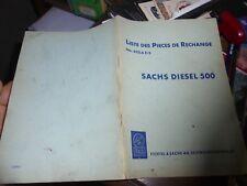 Ancien Livret Pièces de Rechange Moteur SACHS Diesel 500 Tracteur Motoculteur