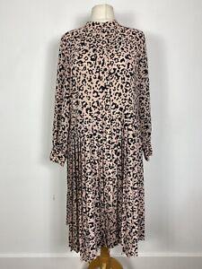 M&S Light Pink Leopard Oversize Loose Smock Pleat Skirt Tea Dress Plus Size 18