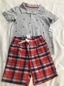 Carter's Toddler Boy Short Sleeve Polo and Plaid Shorts 4T NWT