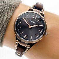 Fossil Georgia Womans Watch ES3200 Brown Leather Cuff Stainless 50m Working
